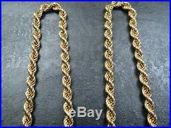 VINTAGE 9ct GOLD ROPE LINK NECKLACE CHAIN 24 inch 1979