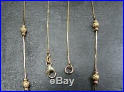 VINTAGE 9ct GOLD SNAKE & BALL LINK NECKLACE CHAIN 16 1/2 inch C. 2000