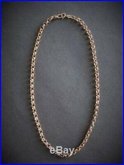 VINTAGE 9ct ROSE GOLD BELCHER ROUND LINK NECKLACE CHAIN 16 inch