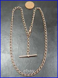 VINTAGE 9ct ROSE GOLD OPEN CURB LINK WATCH CHAIN NECKLACE T-Bar PENDANT 1990