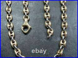 VINTAGE 9ct WHITE YELLOW GOLD GUCCI or ANCHOR LINK NECKLACE CHAIN 18 inch C. 2000