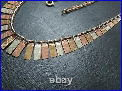 VINTAGE 9ct WHITE YELLOW & ROSE GOLD CLEOPATRA LINK NECKLACE CHAIN 16 inch 1990