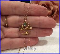 VINTAGE ANTIQUE ART DECO 9ct GOLD PENDANT-AQUAMARINE GLASS-9ct GOLD 46cm CHAIN