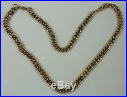 Vintage Double Antique Style Solid 9 Ct Gold (95 Grams!) Curb Link Chain/albert