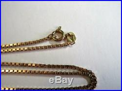 VINTAGE SOLID 9ct GOLD 16 INCH LONG BOX LINK NECKLACE, CHAIN 3.8g