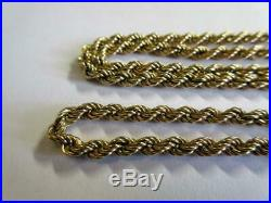 VINTAGE SOLID 9ct GOLD 19 INCH LONG TWIST LINK NECKLACE, CHAIN 5.4g