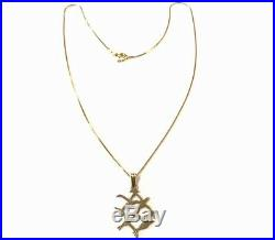 VINTAGE Scottish 9CT GOLD Flying Birds Pendant 15 Chain Necklace BOXED