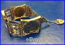 Very Elaborate Ladies 9ct Gold Sovereign x3 Gate Link Bracelet 46.6g
