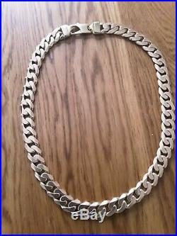 Very Heavy 181 Grammes Solid 9 Ct Gold Curb Chain Necklace 22.5 inches long 15mm
