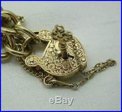 Very Heavy 9ct Gold Curb Bracelet With A Rare Big Carved Heart Padlock And Key