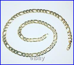 Very Heavy 9ct Gold Figaro Chain Fully Hallmarked 28 Inch