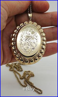 Very Large 9ct Gold Oval Locket And Chain, 28 Inch, For 2 Photos, Engraved Front
