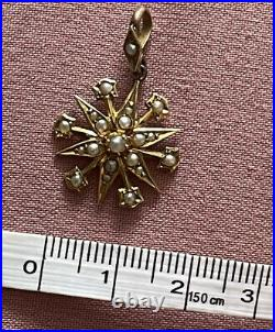 Victorian 15ct Gold Starburst Seed Pearl Pendant On 9ct Gold Chain