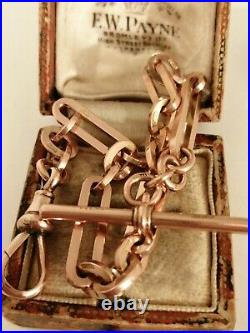 Victorian 1899 9ct Rose Gold Albert Chain Bracelet With T-bar 19.9 grams