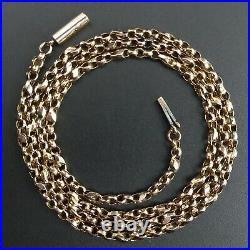 Victorian 9 Ct Rose Gold Fancy Belcher Link 19 Chain Necklace C. 1890 5.2 G