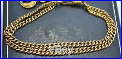 Victorian 9CT GOLD Twin Graduated Chain BRACELET with Dog Clip & Horseshoe Charm