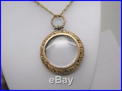 Victorian 9ct Gold Double Sided Glass Locket & 9ct Gold 20 Rope Chain