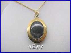 Victorian 9ct Gold Locket Back Black Enamel & Pearl Pendant & 9ct Chain