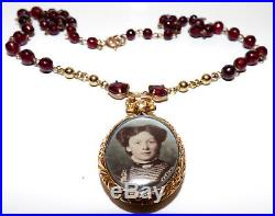 Victorian 9ct Gold Repousse Double Sided Locket Pendant On Garnet Chain Necklace