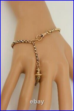 Victorian 9ct Rose Gold Albertina with Tassel Fob. Watch Bracelet 7.5. NICE1