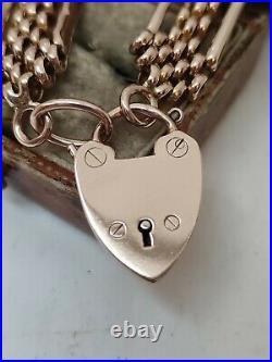 Victorian 9ct Rose Gold Gate Bracelet 4 bar fancy Chain Link