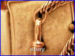 Victorian 9ct Rose Gold Triple Link Chain Bracelet With Bulldog Clasp