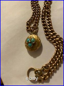 Victorian 9ct solid gold chain with gold turquoise mouring locket forget me not