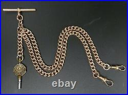 Victorian Antique 9 Ct Rose Gold Double Clip Pocket Watch Alber Chain & Key 42 G