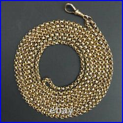 Victorian Antique 9 Ct Rose Gold Facet Cut Belcher Long Guard Chain Necklace