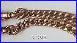 Victorian Antique 9ct Gold Double Albert Pocket Watch Chain C. 1890 #268