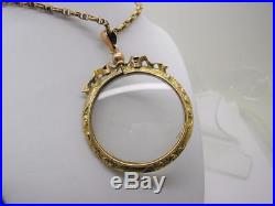 Victorian Big 9ct Gold Round Bow Topped Double Sided Locket & 9ct Gold 16 Chain