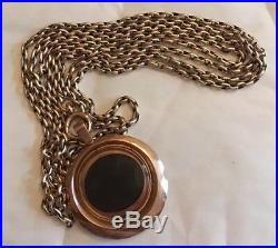 Victorian Long Guard 9ct Gold Muff Chain Locket Pendant Necklace