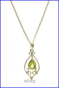 Victorian Peridot Pendant Yellow Gold Necklace Hallmarked 18 Chain British Made