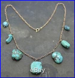 Victorian TURQUOISE MATRIX Graduated Nuggets on 9ct Gold Chain Unusual NECKLACE
