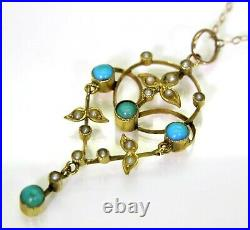 Victorian Turquoise & Pearl 9ct Yellow Gold Lavaliere Necklace Pendant Chain