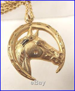 Vintage 14CT GOLD 23.5 Rope Chain With 9CT GOLD Horse Pendant, 19.91g V07 W27