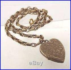Vintage. 375 9CT GOLD Multi-Link Anchor Chain With Heart Locket, 11.24g- V13 S29