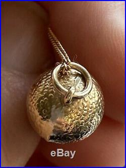 Vintage 9 Ct Gold Acorn On 9 Ct Gold Chain VGC