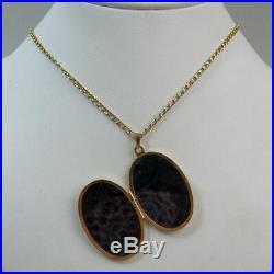 Vintage 9 Ct Gold Locket Pendant & 9 Ct Gold Kerb Chain London 1987 6.5 Grams