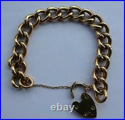Vintage 9 ct Gold Curb Link Bracelet with Heart Padlock & Safety Chain