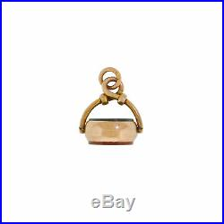 Vintage 9K 9CT 5.3G Gold Bloodstone Carnelian Spinner Watch Chain Fob English