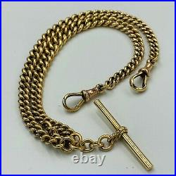 Vintage 9ct 375 Gold Double Albert Graduated Link Watch Chain L313