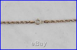 Vintage 9ct 375 rose gold womens 2.5mm Italian rope twist necklace chain 52cm