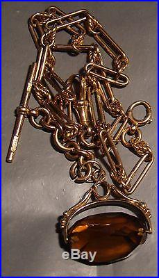 Vintage 9ct Albert Watch Fob 16 chain. 9ct Gold. Spinning Burnt Orange Charm
