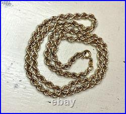 Vintage 9ct Gold 18inch Rope Chain Necklace 6.26g, 4mm