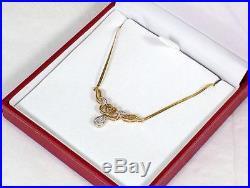 Vintage 9ct Gold 6 Diamond Set Necklace Pendant on 9ct Snake Link Chain c 1980's