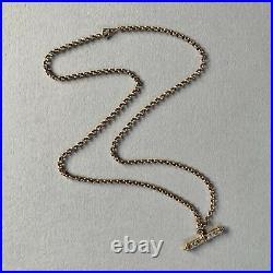 Vintage 9ct Gold Belcher Chain 18 Necklace With Diamond T Bar Pendant