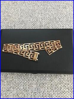 Vintage 9ct Gold Bracelet Greek Key Egyptian Heavy Link Chain 10.14g