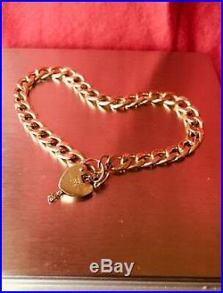 Vintage 9ct Gold Bracelet, Heart Padlock&Safety Chain. Fully Hallmarked-LC, 375