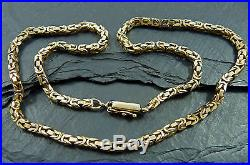 Vintage 9ct Gold Byzantine Chain Necklace 16.5inch London 9ct Import Marks 21g